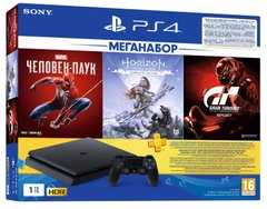 Игровая приставка Sony PlayStation 4 Slim 1Tb (Gran Turismo + Horizon Zero Dawn + Spider Man + PSPlus 3М) (9391401)